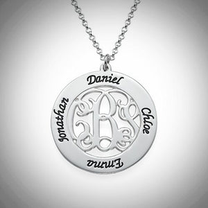 Sterling Silver Monogram With Names Necklace