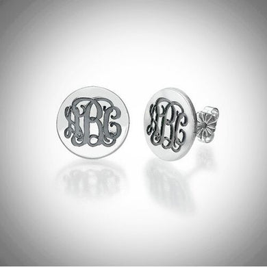 Sterling Silver Round Monogram Stud Earrings