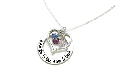 Moon and Back Heart Loop with Birthstones