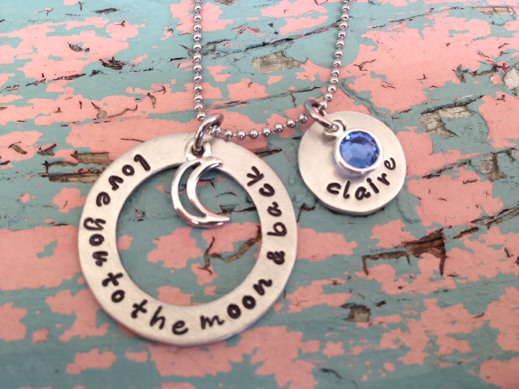 Love You To The Moon and Back Necklace with Birthstones