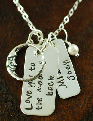 Moon and Back Tags Necklace 1
