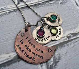 Rustic I Love You To The Moon and Back Mixed Metal Necklace with Birthstones