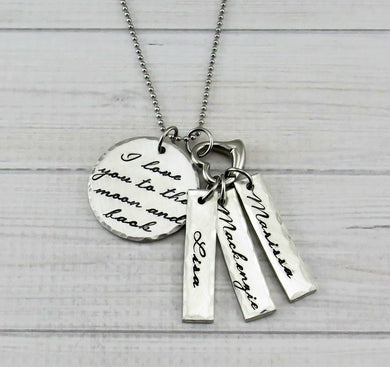 Moon and Back with Name Tag And Heart Necklace