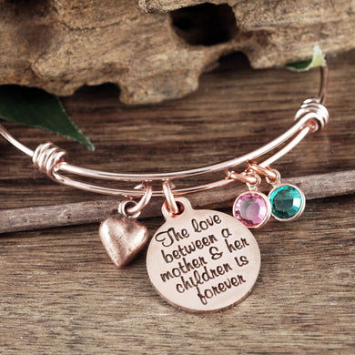 Mother and Children Love Bangle Bracelet- Silver, Rose Gold, or Gold