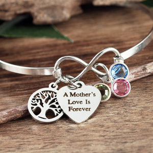 A Mother's Love- Infinity Bangle Bracelet - Choose Color