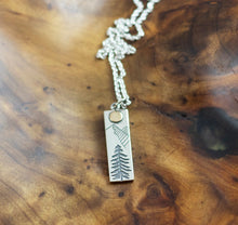Load image into Gallery viewer, Sterling Silver Mountain Sun Necklace