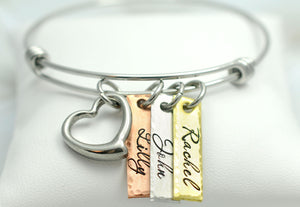 Mixed Metal Name Tags And Heart Bangle Bracelet