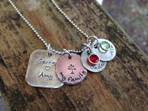 Rustic Mixed Metal Family Necklace