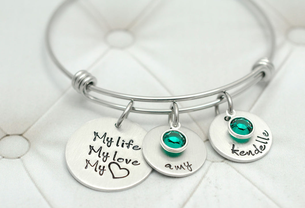 My life, My love, My heart Bangle Bracelet