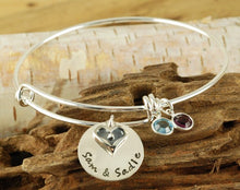 Load image into Gallery viewer, Personalized Heart Charm Bangle Bracelet