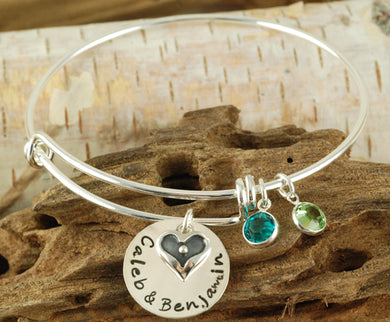 Personalized Heart Charm Bangle Bracelet