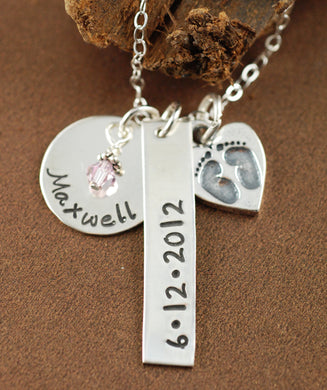 Name Disc, Date Tag and Baby Feet Necklace