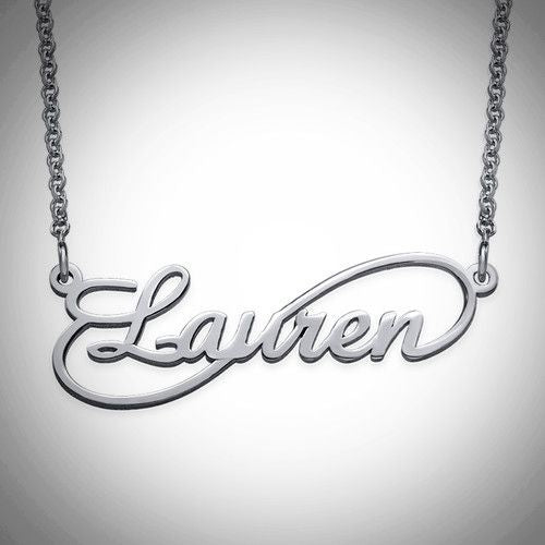 Infinity Nameplate Necklace - Sterling Silver, Gold, Rose Gold, or 14K Gold