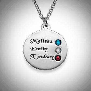 Sterling Silver Engraved Name and Birthstone Necklace
