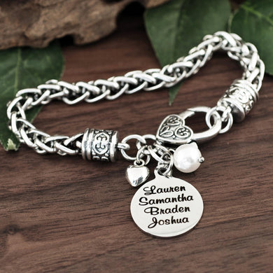 Personalized Names Antiqued Silver Bracelet