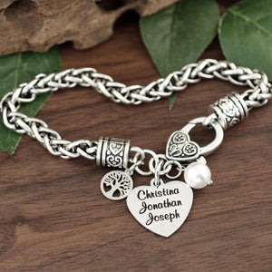 Personalized Names Family Tree Antiqued Silver Bracelet