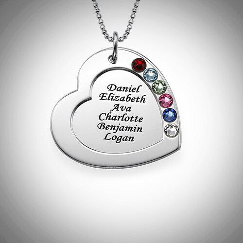 Sterling Silver Engraved Birthstones Heart Necklace