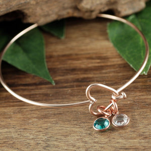 Open Heart Bangle Bracelet With Birthstone - Choose A Color