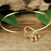 Load image into Gallery viewer, Open Heart Bangle Bracelet With Birthstone - Choose A Color