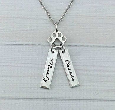 Pewter Name Tag And Paw Print Necklace
