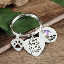 Load image into Gallery viewer, Paw Prints on My Heart Keychain