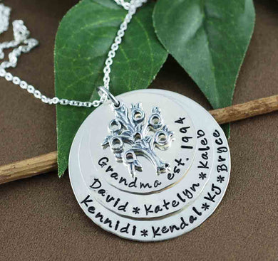 Hand Stamped Sterling Silver 3 Disc Tree of Life Necklace