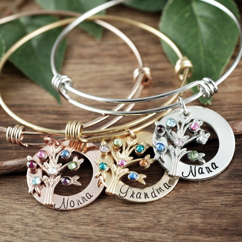 Personalized Family Tree Bangle Bracelet - Choose A Color
