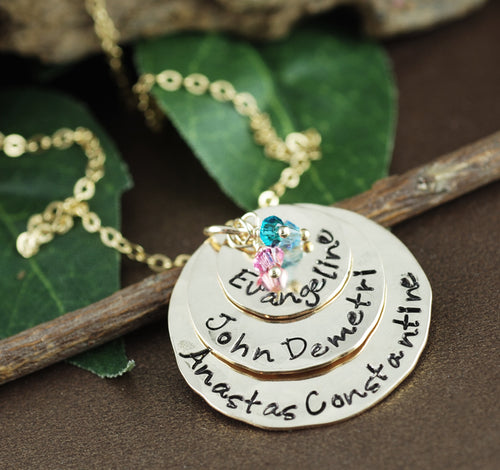 Hand Stamped Gold Three-Disc  Birthstone Necklace