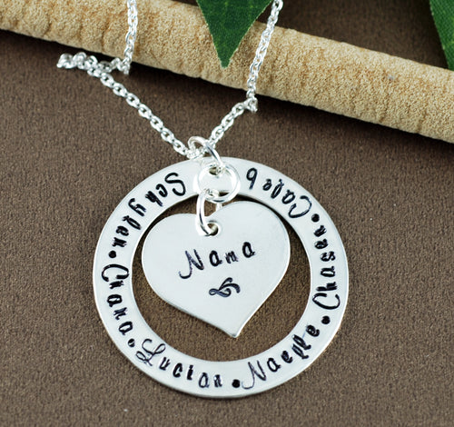 Sterling Silver Loop and Heart Necklace