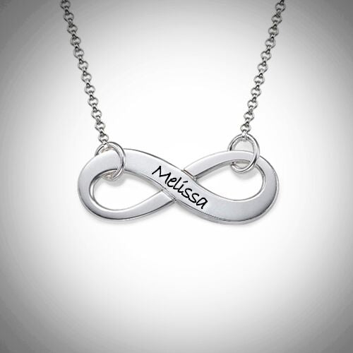 Sterling Silver Personalized Infinity Necklace