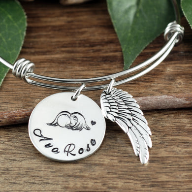 Angel Baby Bangle Bracelet - Choose A Metal Color