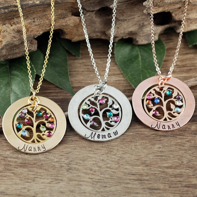 Personalized Round Tree of Life Necklace - Choose a Color