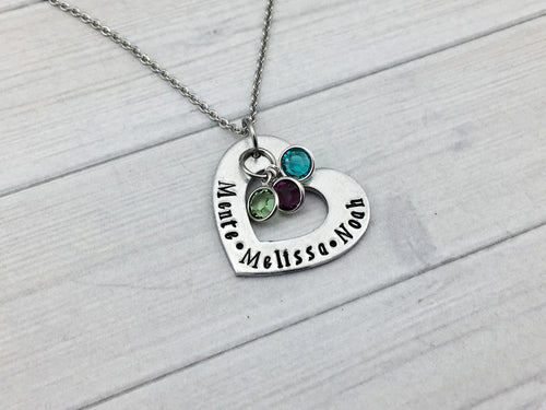 Fine Pewter Heart with Birthstones Necklace