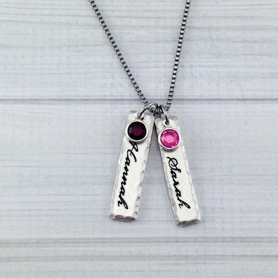 Pewter Name Tag And Birthstone Necklace