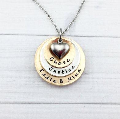 Pewter and Bronze Three Layer Heart Necklace