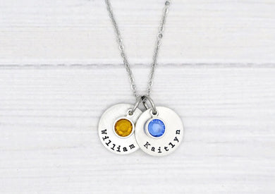 Pewter Name And Birthstone Necklace- Type Font