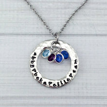 Load image into Gallery viewer, Hammered Pewter Loop With Framed Birthstones Necklace