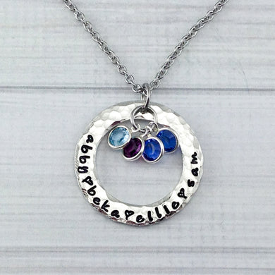 Hammered Pewter Loop With Framed Birthstones Necklace
