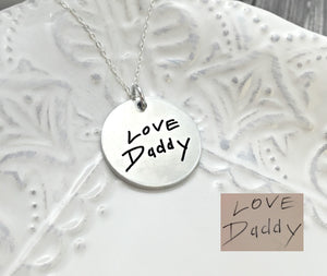 "1"" Fine Pewter Actual Handwriting Disc Necklace"