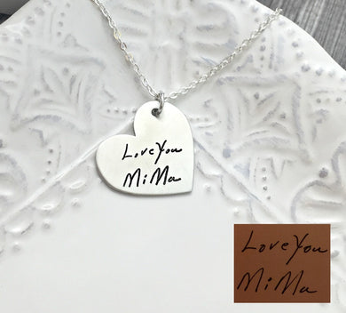 Fine Pewter Actual Handwriting Heart Necklace