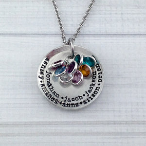 Large Two Layer Pewter Birthstone Necklace