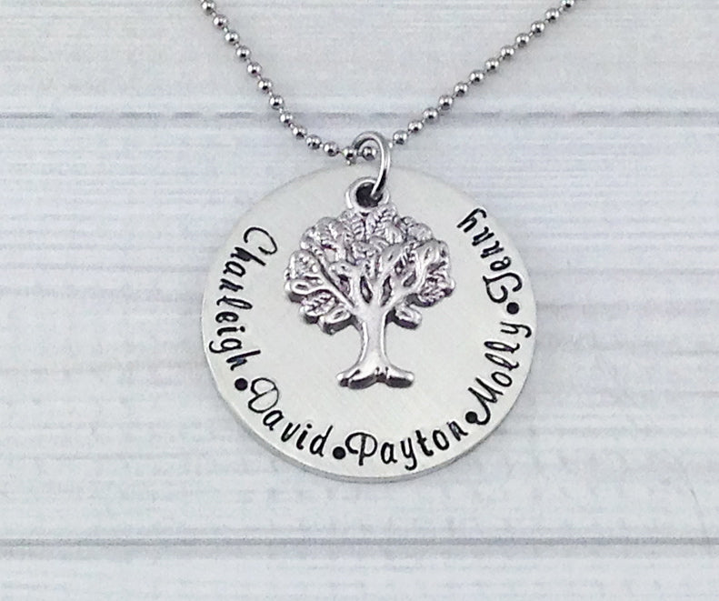 Fine Pewter Family Tree Necklace