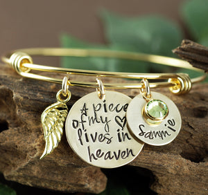 "Gold ""A Piece Of My Heart Lives In Heaven"" Bangle Bracelet"