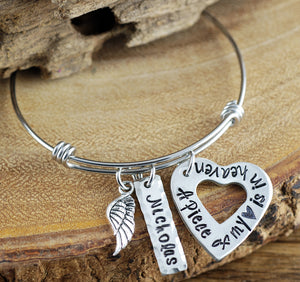 """A Piece of My Heart Is In Heaven"" Open Heart Bangle Bracelet"