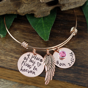 "Rose Gold ""A Piece Of My Heart Lives In Heaven"" Bangle Bracelet"