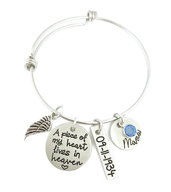 A Piece of My Heart Lives in Heaven Bangle Bracelet