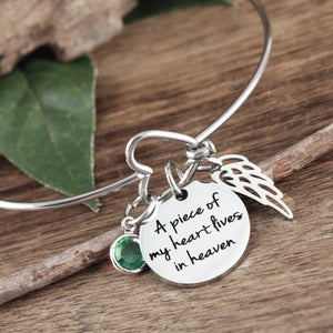 Memorial Heart Bangle Bracelet With Wing - Choose A Color