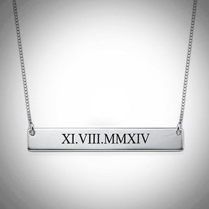 Sterling Silver Roman Numeral Necklace