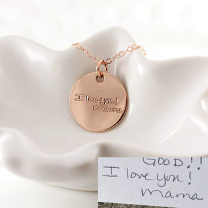 "3/4"" Rose Gold Handwriting Disc Necklace"