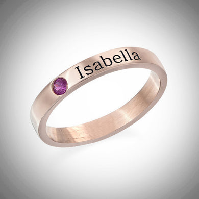Rose Gold Stackable Ring With Stone